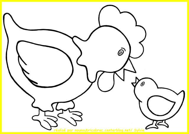 16 dessins de coloriage Poule à imprimer