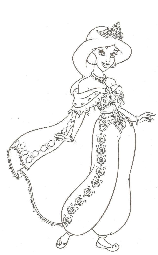 coloriage gratuit princesse jasmine