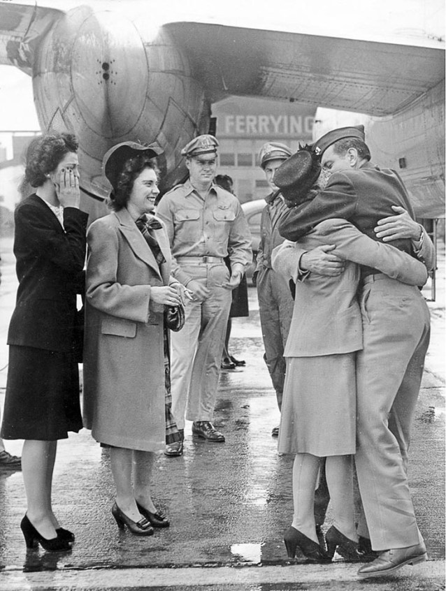 Soldier Is Welcomed Home At Long Beach Airport, 1945
