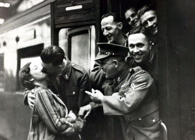 Comrades Heckle Soldier Kissing His Girlfriend Goodbye