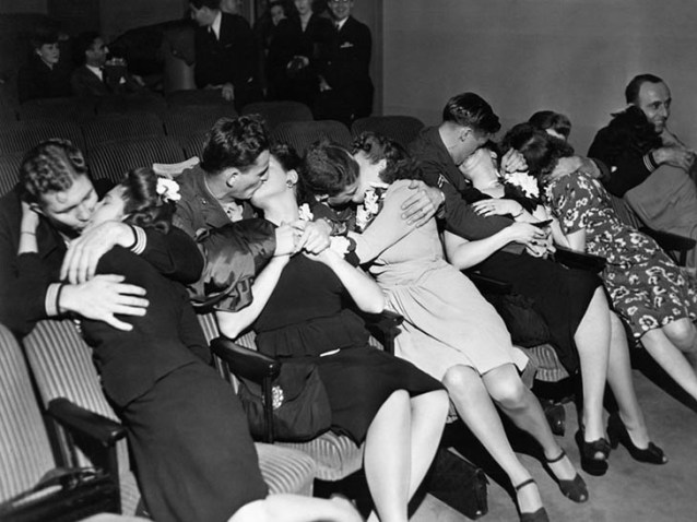 Husbands Kiss Their Wives After Coming Back From War, 1940s