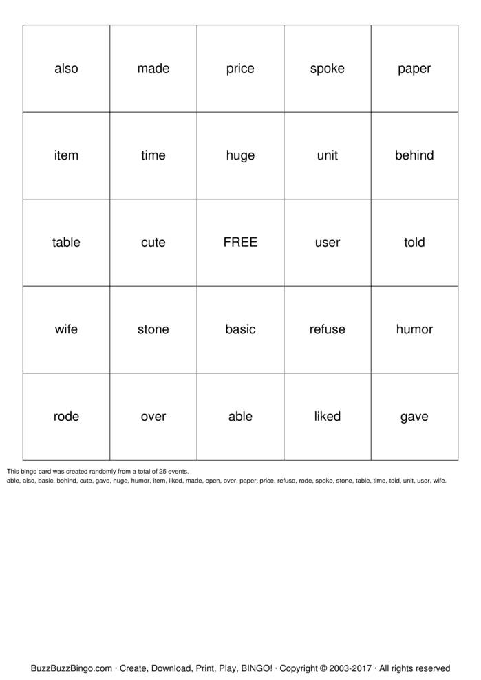 Silent E Bingo Cards To Download Print And Customize