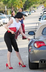 Dita Von Teese's red shoes