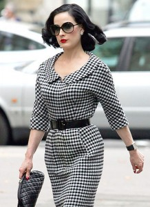 Dita Von Teese Leaving The Plaza Athenee In Paris (USA AND OZ ONLY)