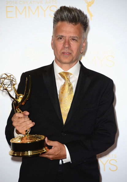 Designer Valerio Ventura in the press room at the 2014 Creative Arts Primetime Emmy Awards at Nokia Theatre L.A. Live on August 16, 2014 in Los Angeles, California.