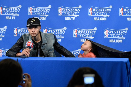 Stephen Curry and Riley Curry address the media. Mandatory Credit: Kyle Terada-USA TODAY Sports