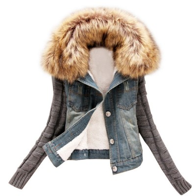 Free-Shipping-Alralel-Women-Winter-font-b-Denim-b-font-Faux-Fur-Hooded-Slim-Fitted-font