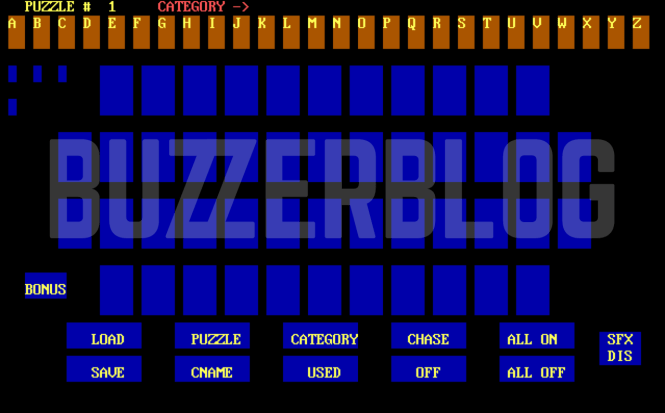 This is a screenshot of the software, unearthed by BuzzerBlog, of the software used to control the Wheel of Fortune Puzzleboard, when it was introduced in 1997.