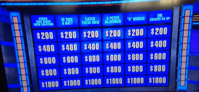 "Watch: Jeopardy Trolls SNL With ""Celebrity Jeopardy"" Skit-Themed Board"