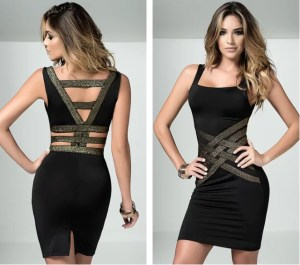 v-back braided metallic gold dress