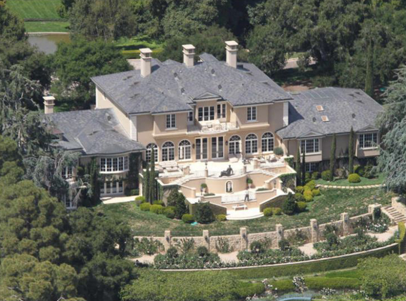 An aerial view shows Oprah's Montecito mansion.