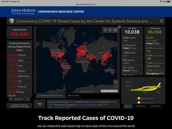 Coronavirus spread map screenshot infographic 2