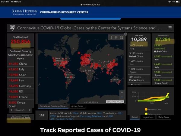 Coronavirus spread map screenshot infographic 4