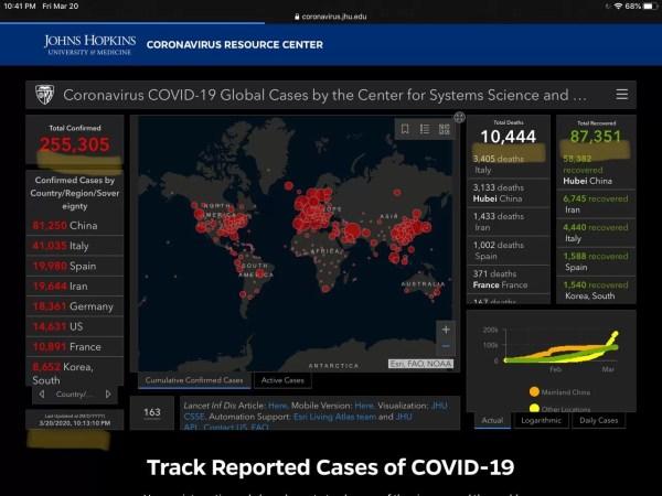 Coronavirus spread map screenshot infographic 5
