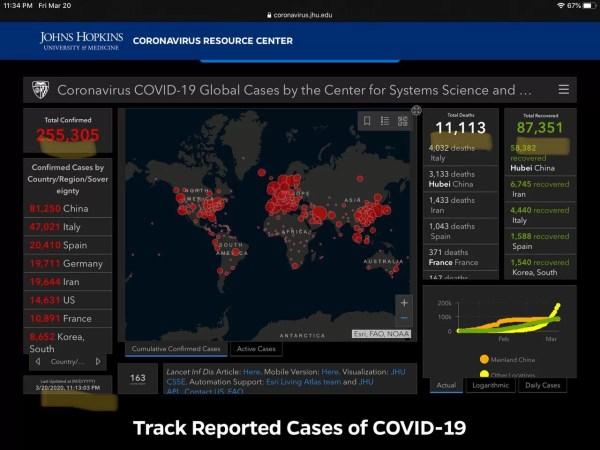 Coronavirus spread map screenshot infographic 6