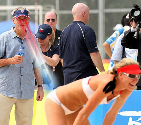 George W bush watching sexy volleyball