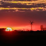 Sunset with windmill