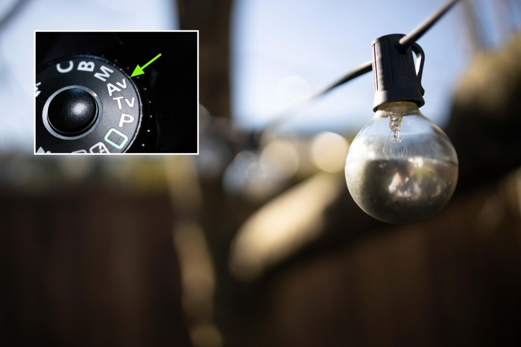 Aperture priority camera setting for blurred background photography