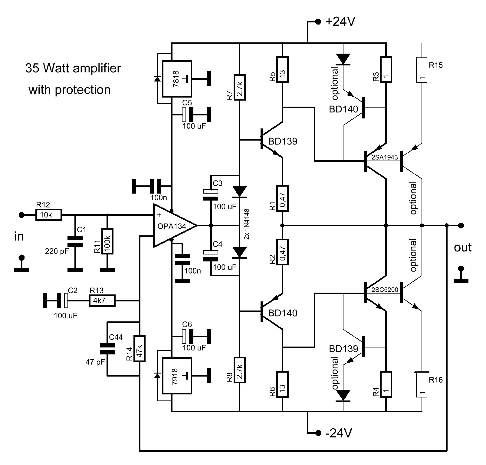 Grozzart 2sc 2sa Amplifier Circuit