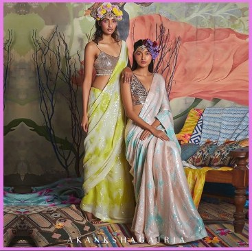 Green and cream and blue and cream sequined tie-dye sarees by Akanksha Gajria