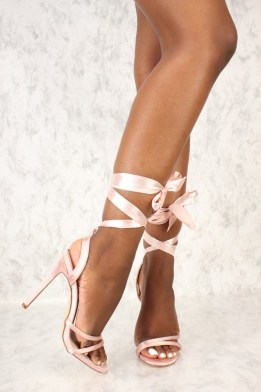 strappy lace up satin heels $10