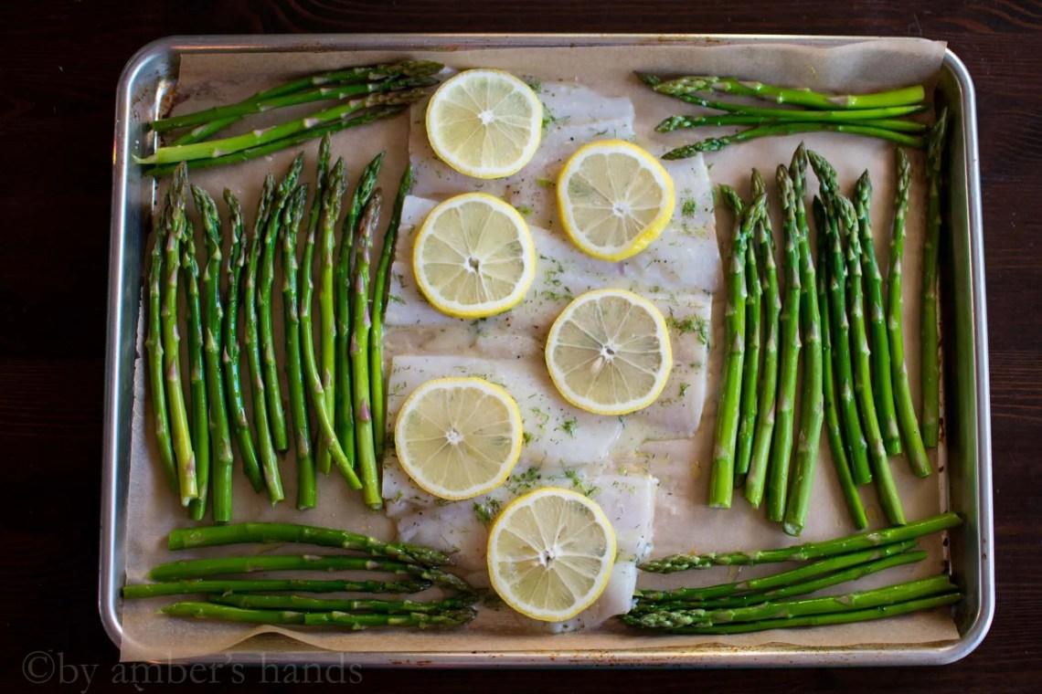 Lemony Fish and Asparagus Sheet Pan -keto cake walk-