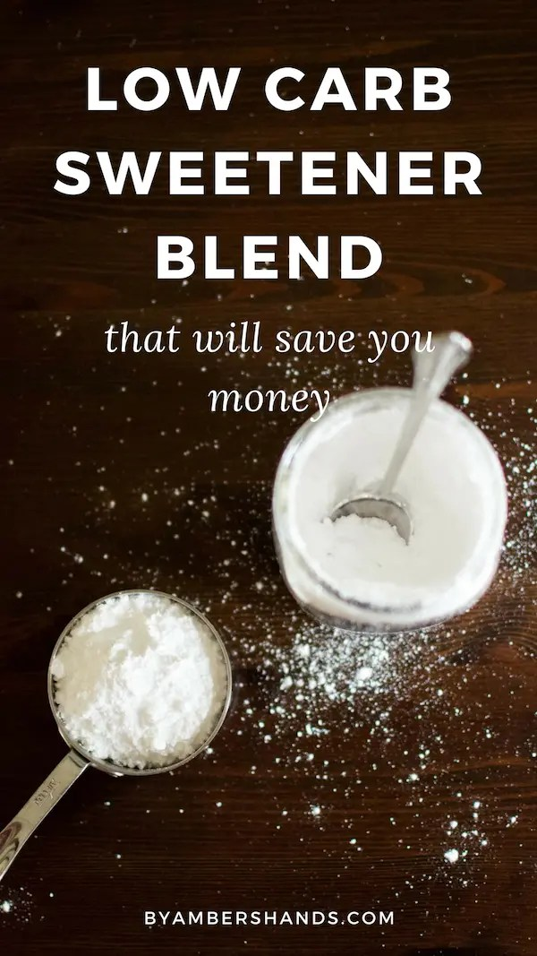 This blend of erythritol and stevia makes for the best tasting low carb sweetener. And if you make it yourself you'll save TONS of money! #keto #lowcarb #sweetener #recipe
