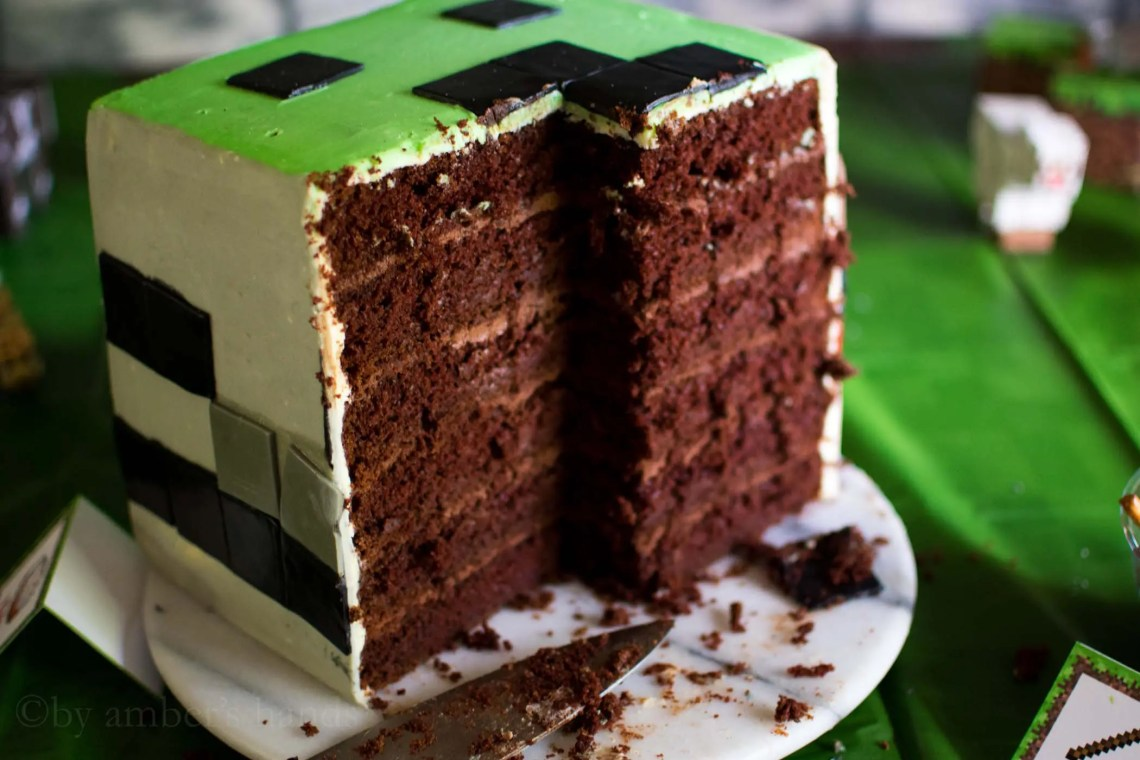 Six layer chocolate Minecraft cake
