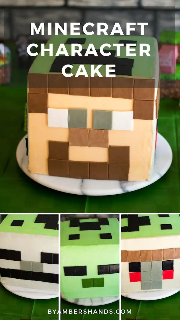 Find out how to make this Minecraft character cube cake and tons of ideas for a Minecraft birthday party! #minecraft #cake #party #kids #birthday