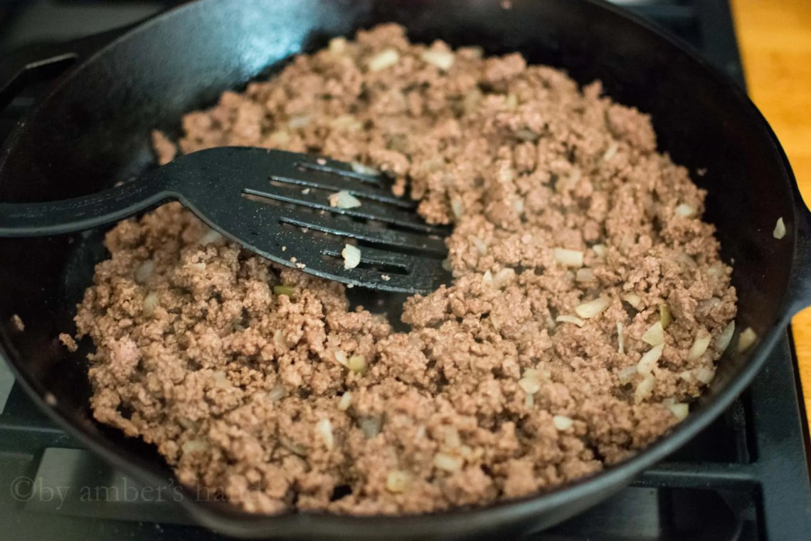 Meat and onion mixture