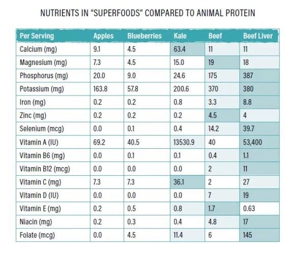 "Nutrients in ""superfoods"" compared to animal protein -- by Maria Emmerich"