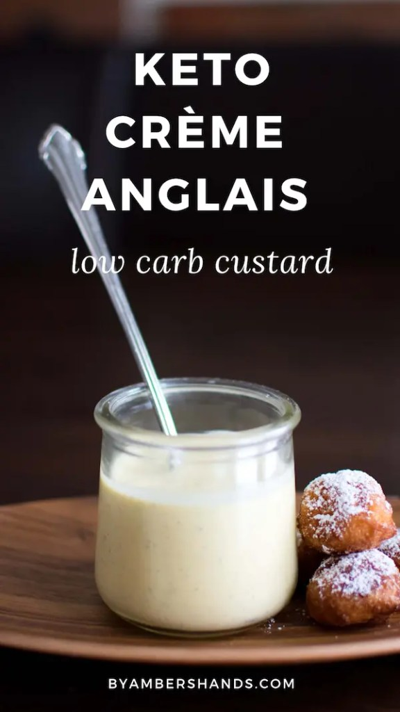 This Keto Creme Anglais is so simple and delicious! Serve alone or with berries or low carb donuts! 2.7 carbs per serving! #keto #lowcarb #dessert #custard #fatbomb #treats