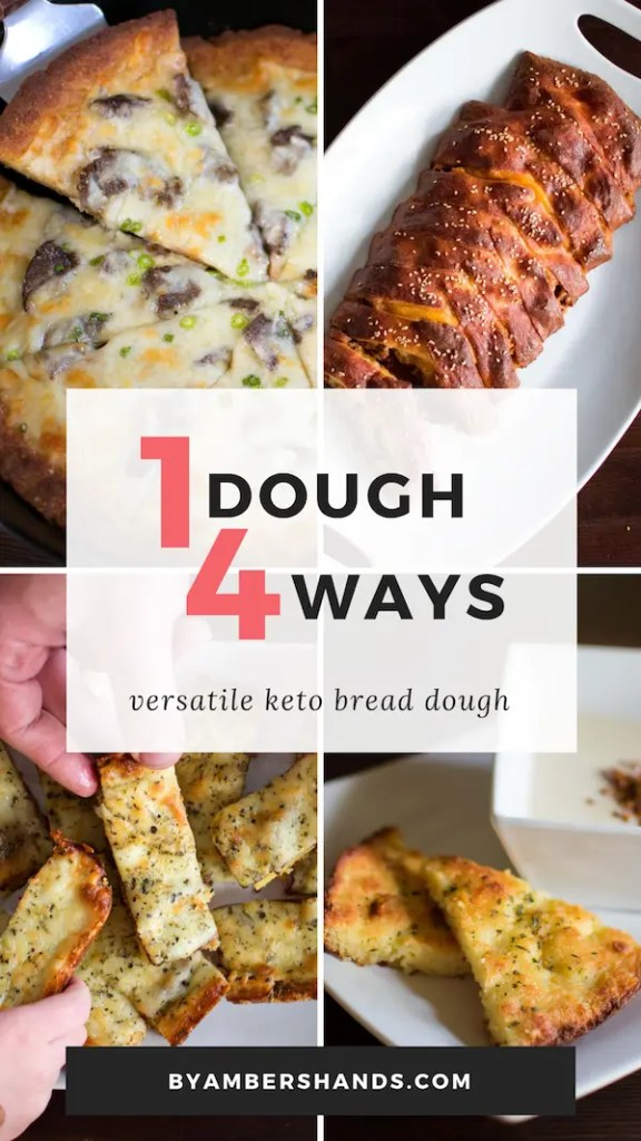 This low carb bread dough can be used in SO many ways and tastes amazing! Use it in pizza, calzones, cheesy bread, foccacia, bagel dogs, and more!