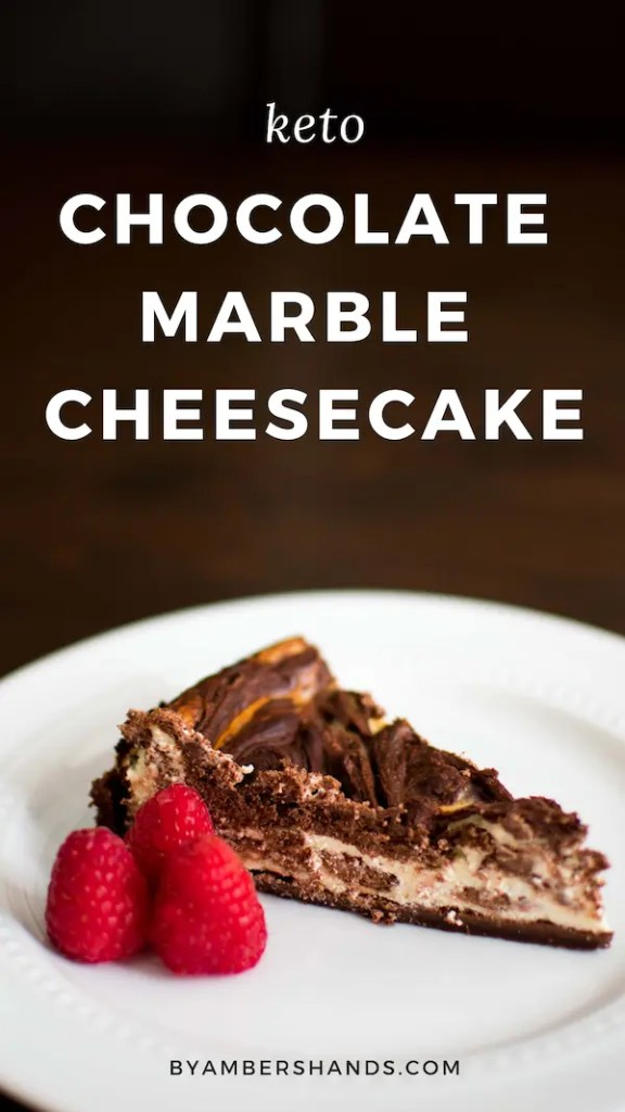 This low carb chocolate marble cheesecake is decadent and rich and perfect for celebrating! Keto, gluten and grain free! #lowcarb #keto #cheesecake #chocolate #glutenfree #grainfree #sugarfree
