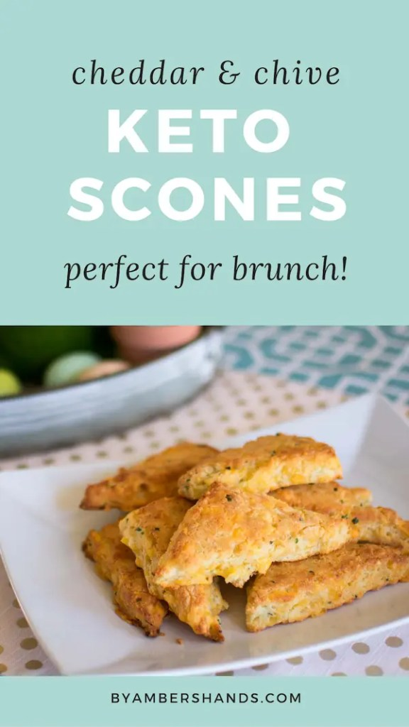 The perfect low carb brunch side, these Cheddar & Chive Keto Scones come together in 30 minutes and will wow your guests with little effort on your part! #keto #lowcarb #scones #cheese #cheddar #chive #glutenfree #grainfree #atkins #easter