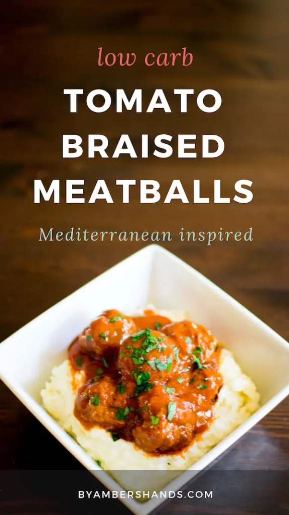 Ready in 35 minutes, these tomato braised meatballs are a perfect low carb weeknight dinner! Just 3.8g net carbs! #lowcarb #keto #dinner #meatballs #tomato #cinnamon #glutenfree #grainfree
