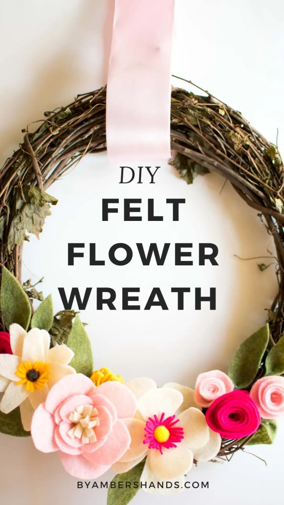 Creating a felt flower wreath is so much easier than you've ever imagined. No sewing skills necessary, just scissors, a glue gun, felt, and a wreath! Easily done in a day. #wreath #felt #flowers #spring #decor #homedecor #DIY #interior