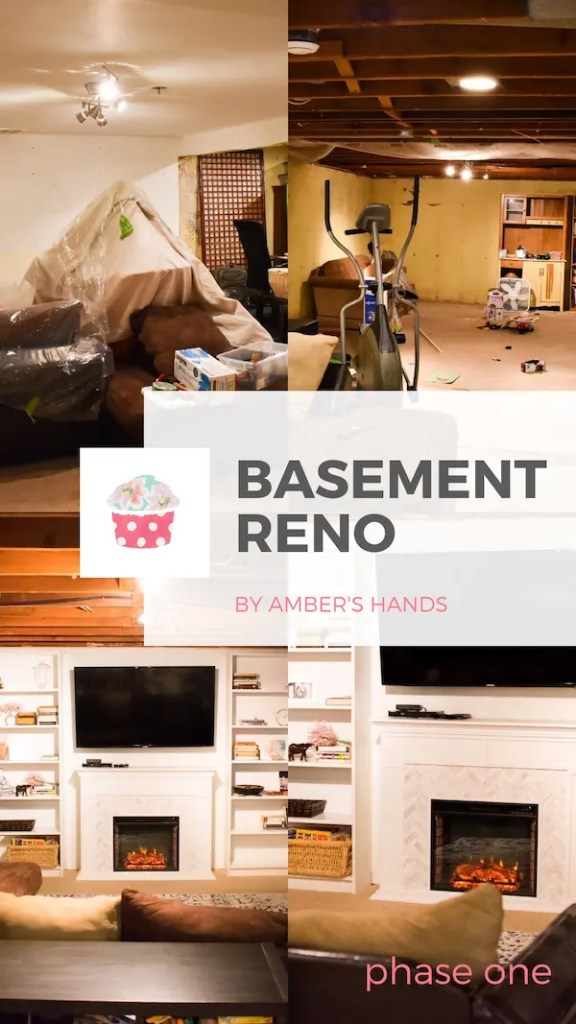 Phase One of our DIY basement renovation is complete! See how we're doing it all ourselves while living here and still needing the space! #basement #renovation #DIY #homeimprovement #builtins #electricfireplace #familyroom #playroom
