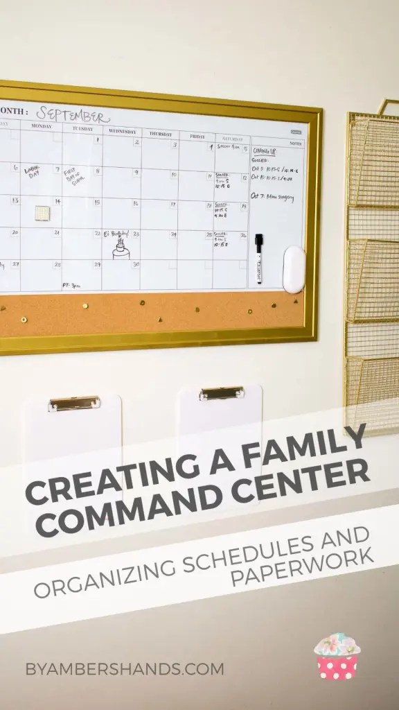 Keeping track of a whole family's activities and important papers is practically a full time job. That's why I created a family command center in our kitchen. It was was easier than I thought! #commandcenter #organization #calendar #files #papers #household #schedules #baskets #clipboards