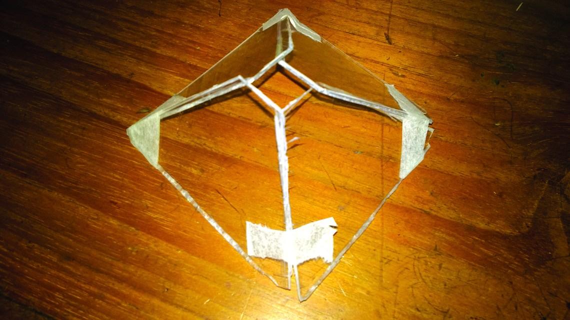 (চিত্র ৪) ৩D হলোগ্রাম দেখার তৈরিকৃত পিরামিড মতো করে চারটি অংশ কেটে নিবে
