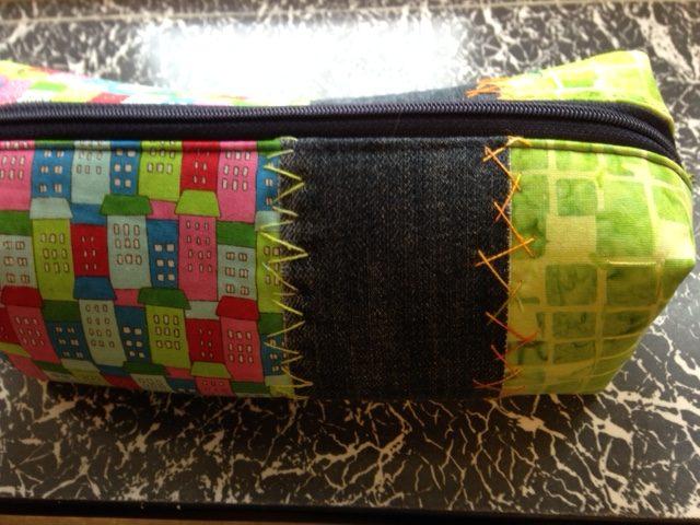 patchwork quilt håndquilt penalhus redesign denim silketråd