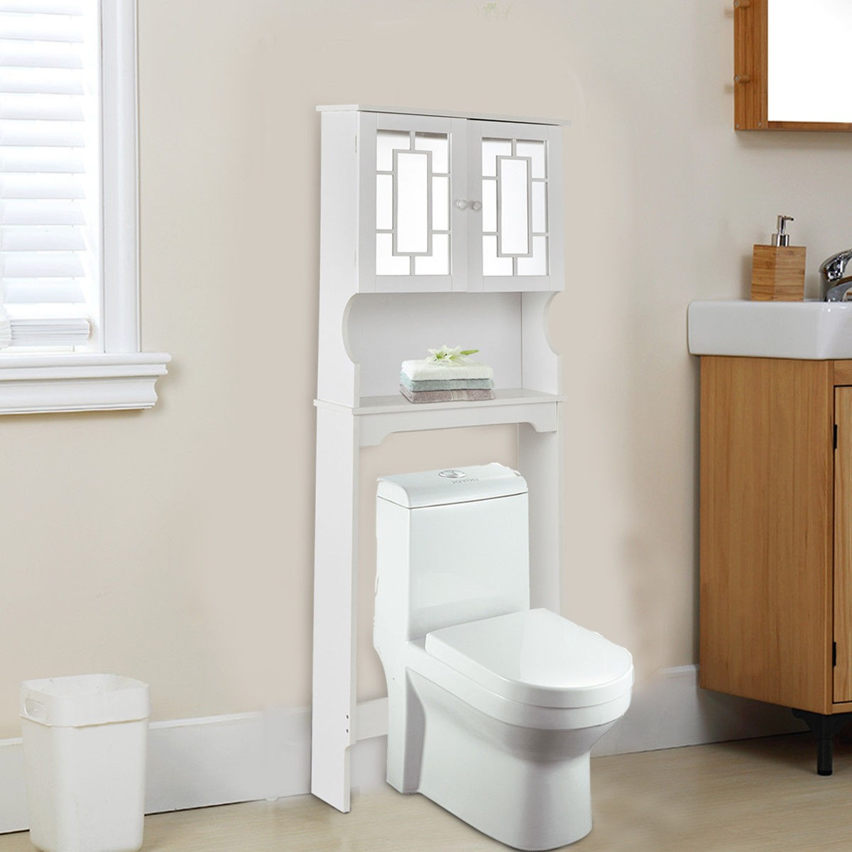 bathroom over toilet space saver storage cabinet shelf - Bathroom Cabinets That Fit Over The Toilet