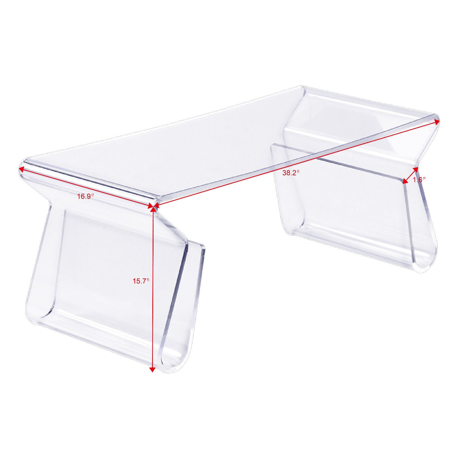 38″ Clear Acrylic Coffee Table with Integrated Magazine Rack – By