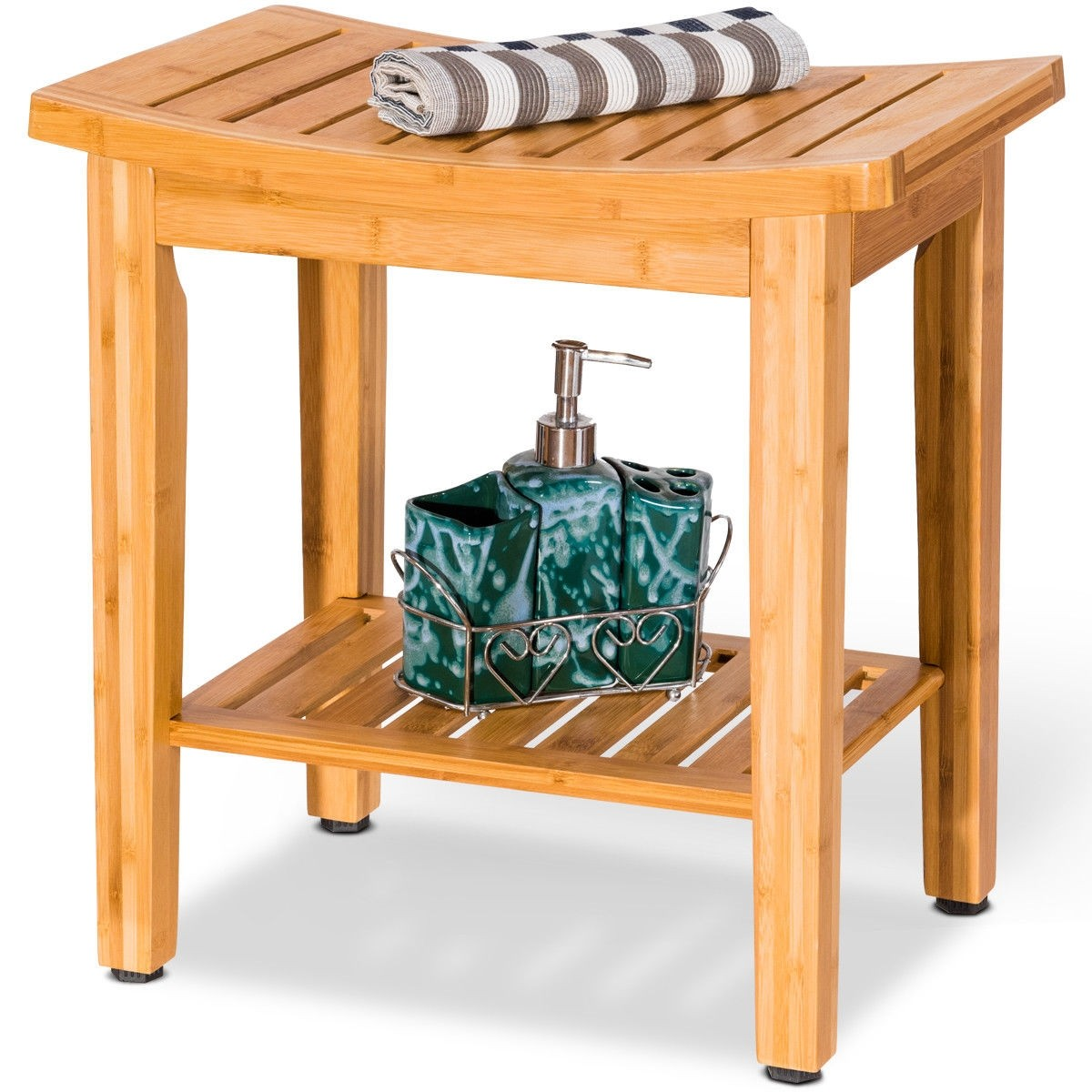 18″ Bamboo Shower Seat Bench w/ Storage Shelf – By Choice Products