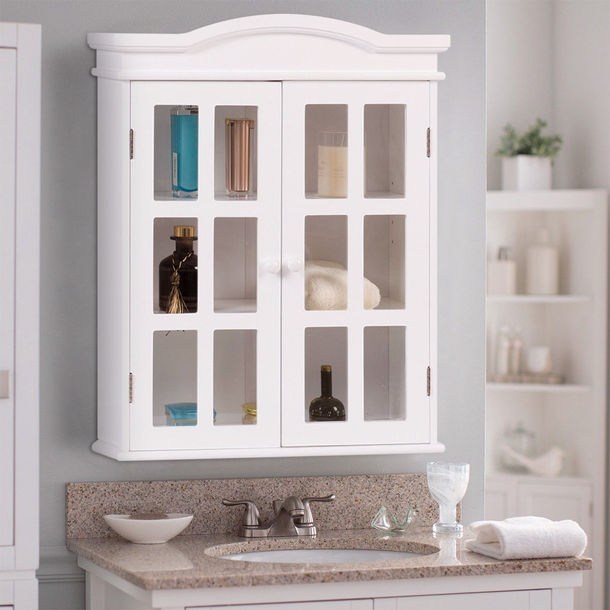 Wall-Mount Bathroom Double Doors Shelved Storage Cabinet – By Choice ...