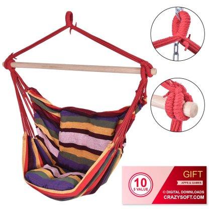 4 Color Outdoor Deluxe Hammock Rope Chair