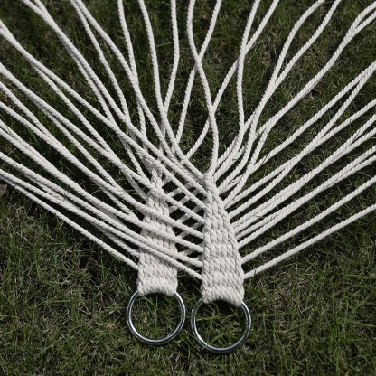 """78"""" x 59"""" Double Comfortable White Cotton Rope Hammock"""