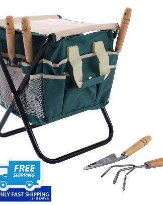 7 pcs Garden Tool Bag Set with a Folding Stool