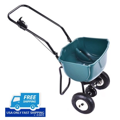 Seed Grass Spreader Fertilizer Broadcast Push Cart