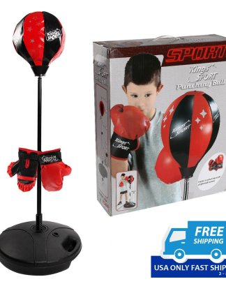 Kids Punching Bag Toy Set Adjustable Stand Boxing Glove Speed Ball